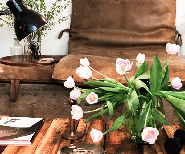 Vintage Industrial-StyleLeder Turnmatte Blumen Interior Dekoration